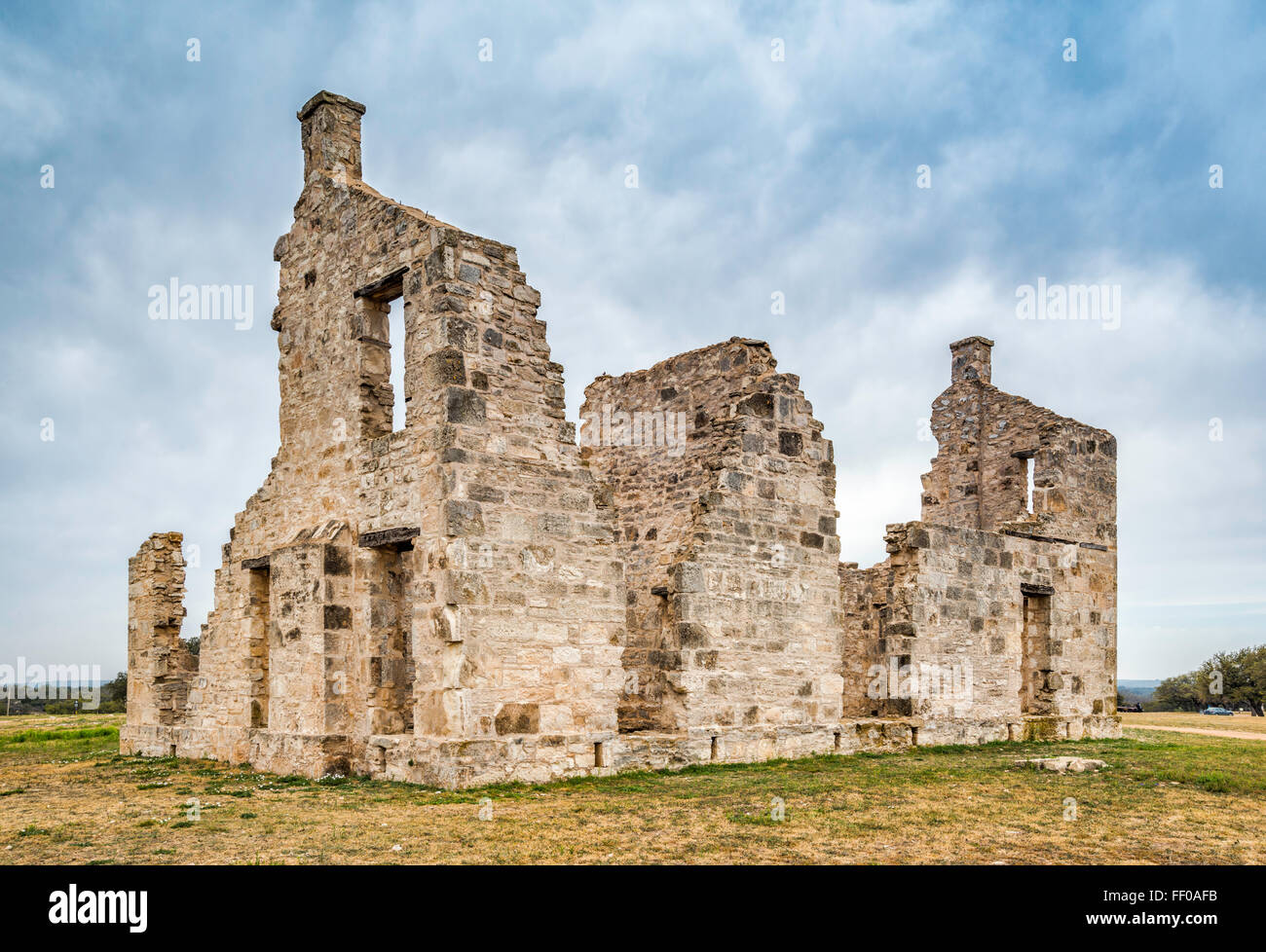 Commanding Officer's Quarters, ruined building at Fort McKavett State Historic Site in Fort McKavett, Texas, - Stock Image