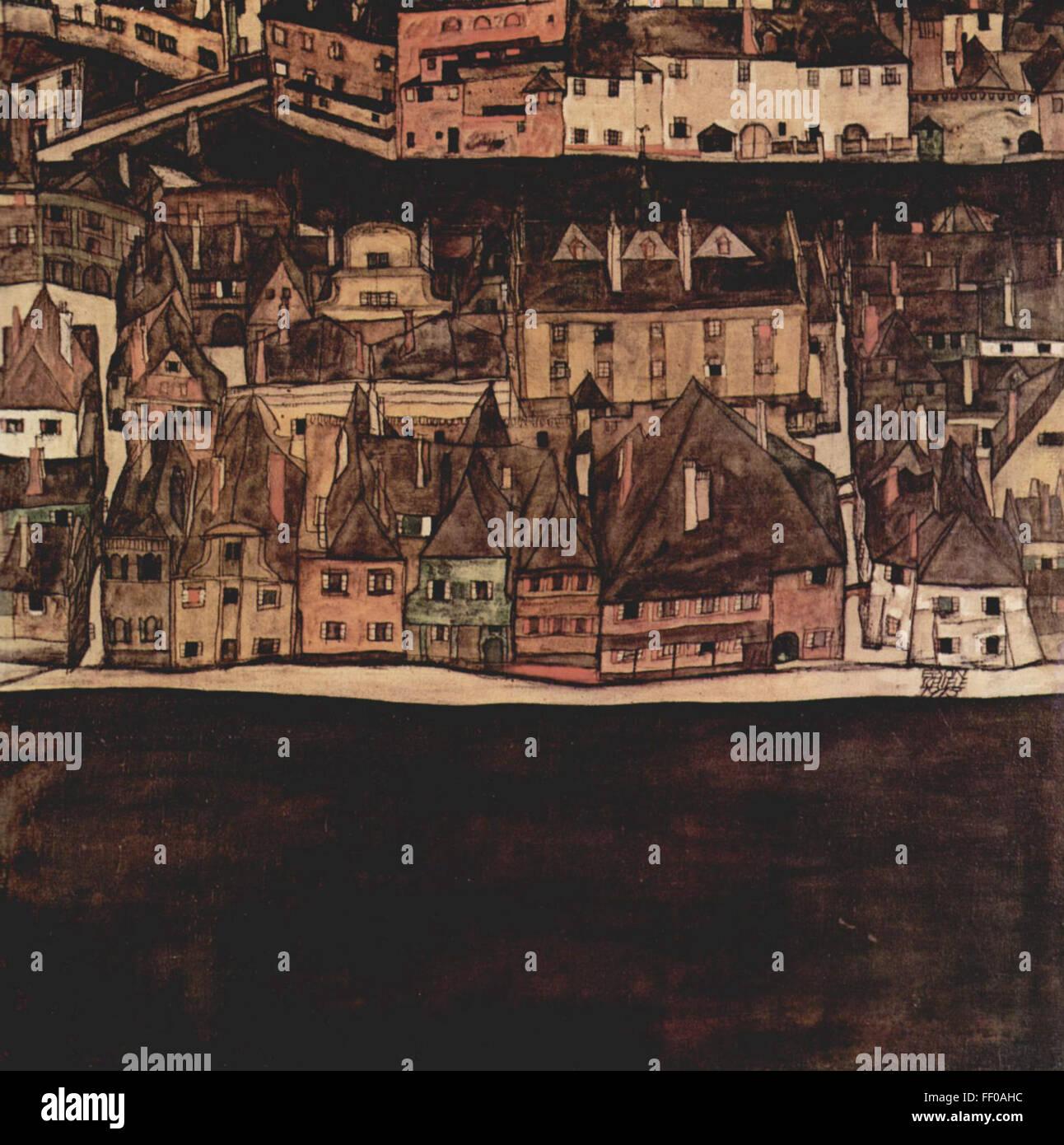 The Little City II (View from Bohemian Krumlov) by Egon Schiele The Little City II (View from Bohemian Krumlov) - Stock Image