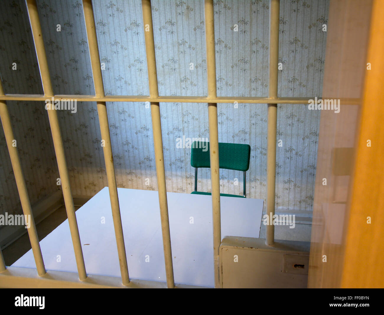 Interrogation room in Hohenschoenhausen, a stasi prison in ddr times, now a museum and memorial. - Stock Image