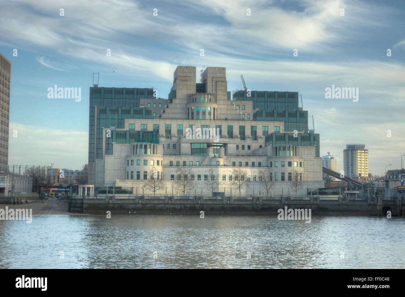 MI6 Building.  Vauxhall.   Secret Services  Terry Farrell - Stock Image