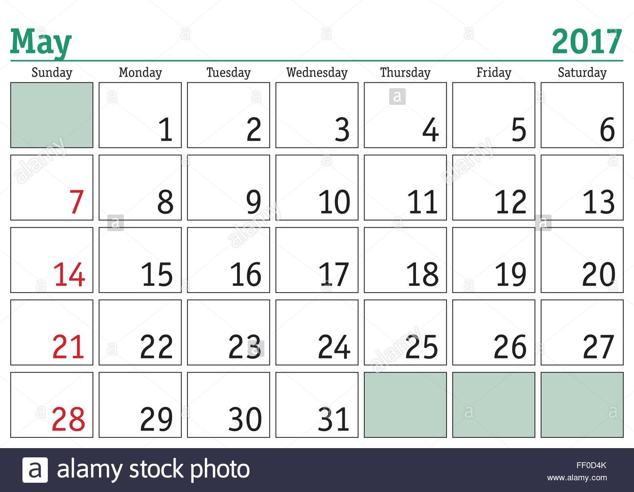 picture about Printable Calendar for May identify Basic electronic calendar for May perhaps 2017. Vector printable
