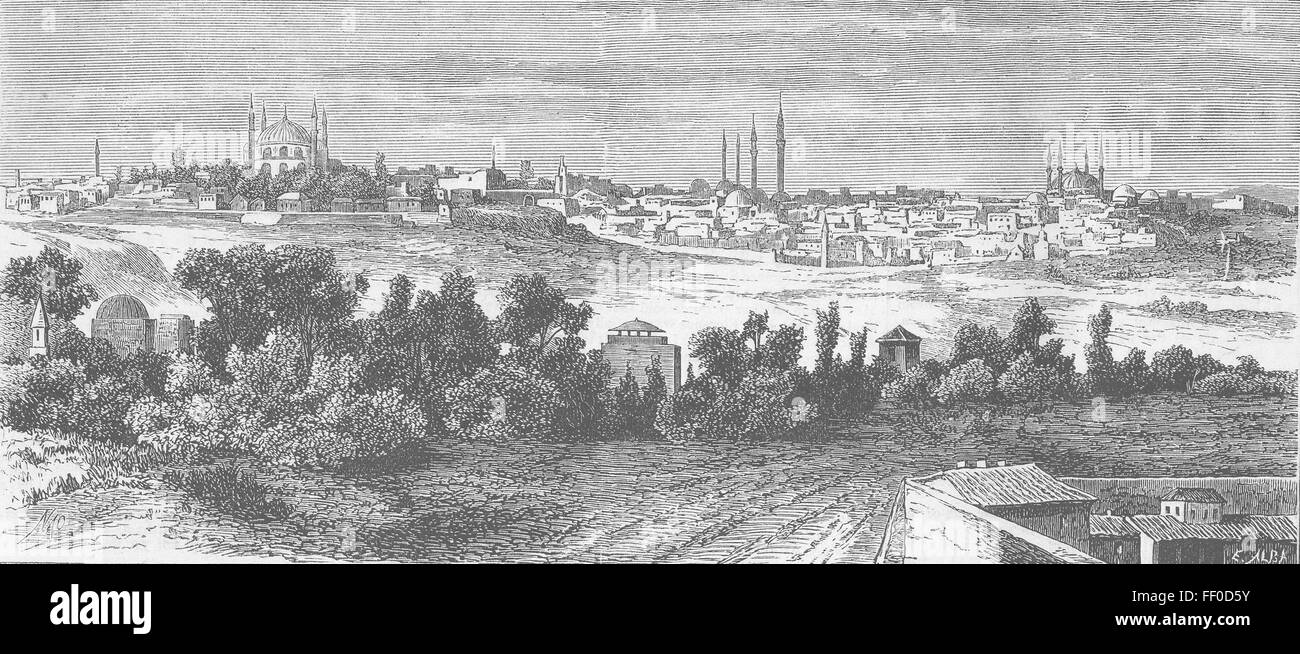 TURKEY Edirne, ancient capital of Ottoman Empire 1878. The Pictorial World - Stock Image