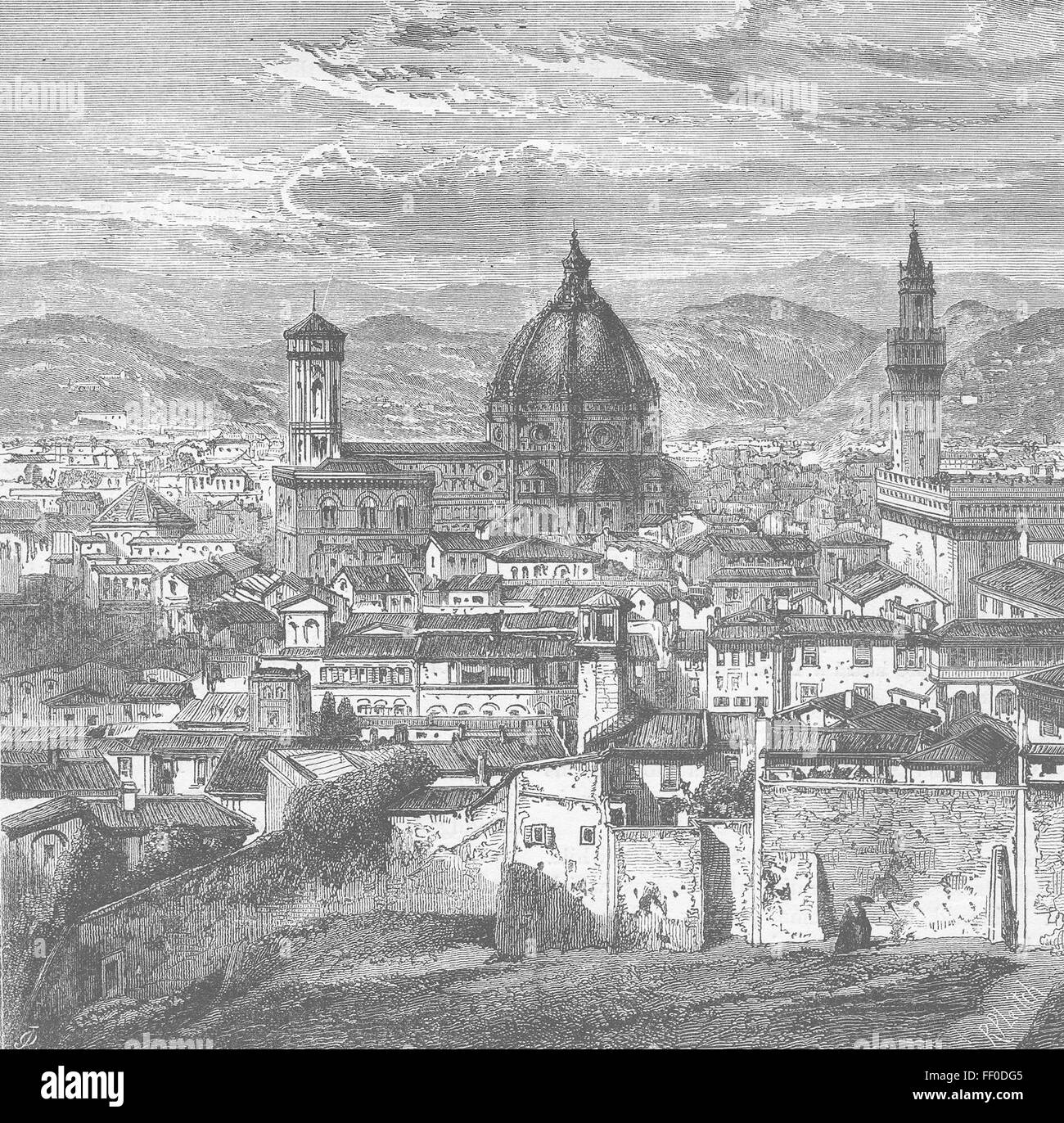 ITALY View of Florence c1877. History of Protestantism, JA Wylie, published by Cassell & Co - Stock Image