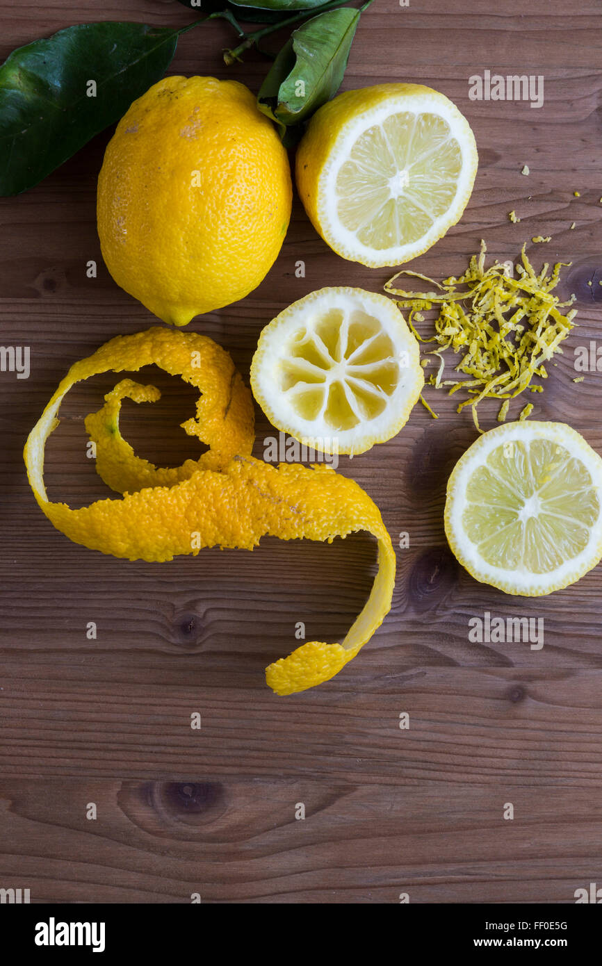 Lemon slices with zest - Stock Image