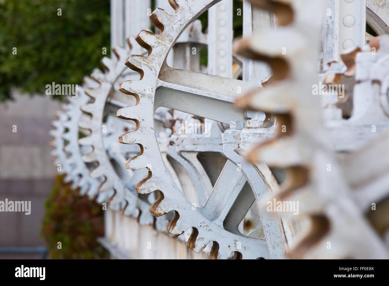 Close-up of the cog wheels at Geneva's 'Pont de la machine', Switzerland. - Stock Image