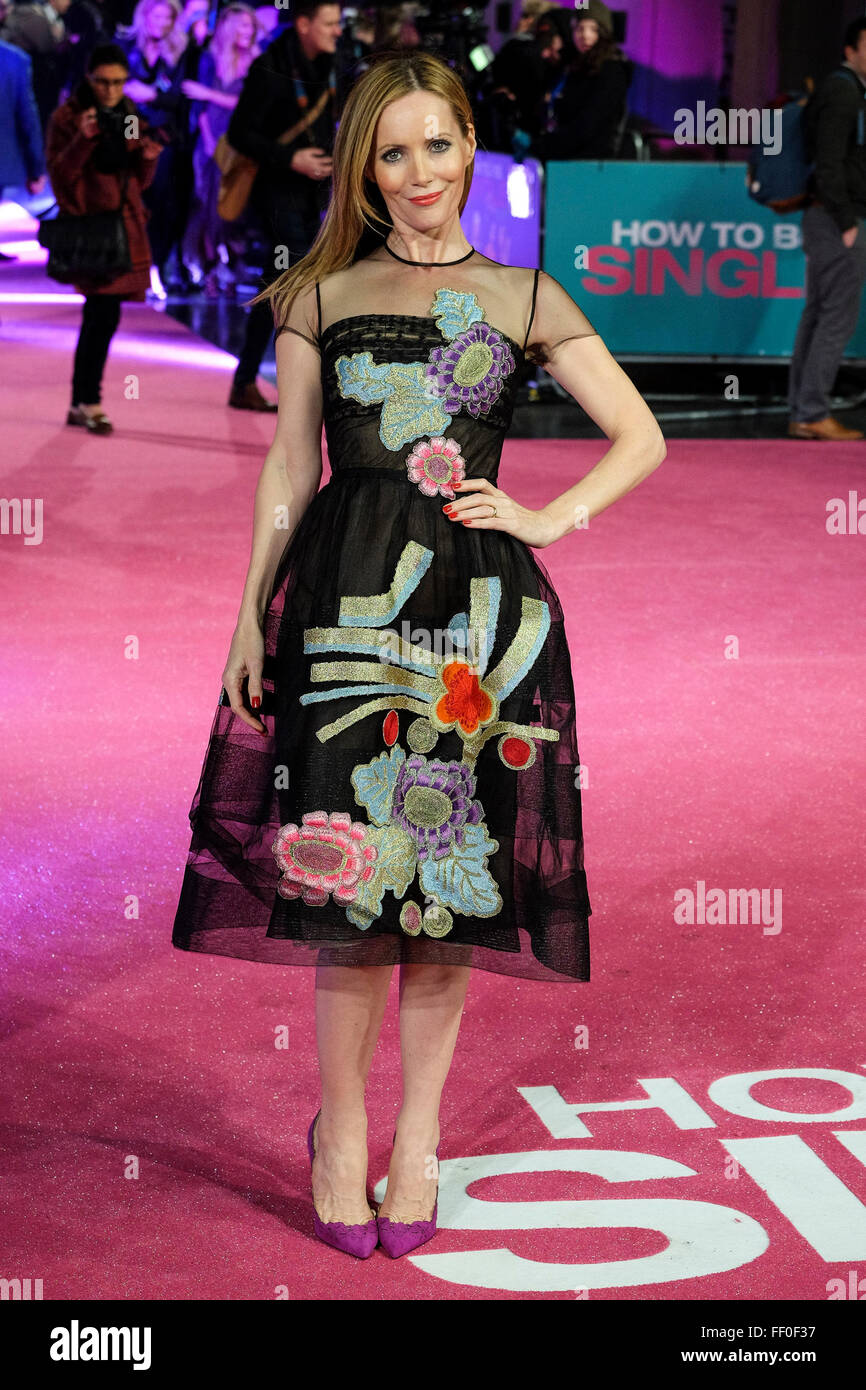 "Leslie Mann arrives on the red carpet for the European Premiere of ""How To Be Single"" on 09/02/2016 at The VUE West - Stock Image"