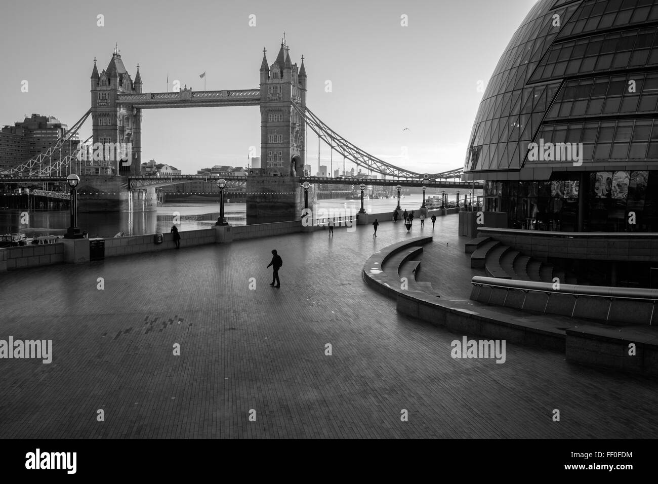 A beautiful black and white photo of southbank along the Thames river on a lovely Sunday morning in February. - Stock Image