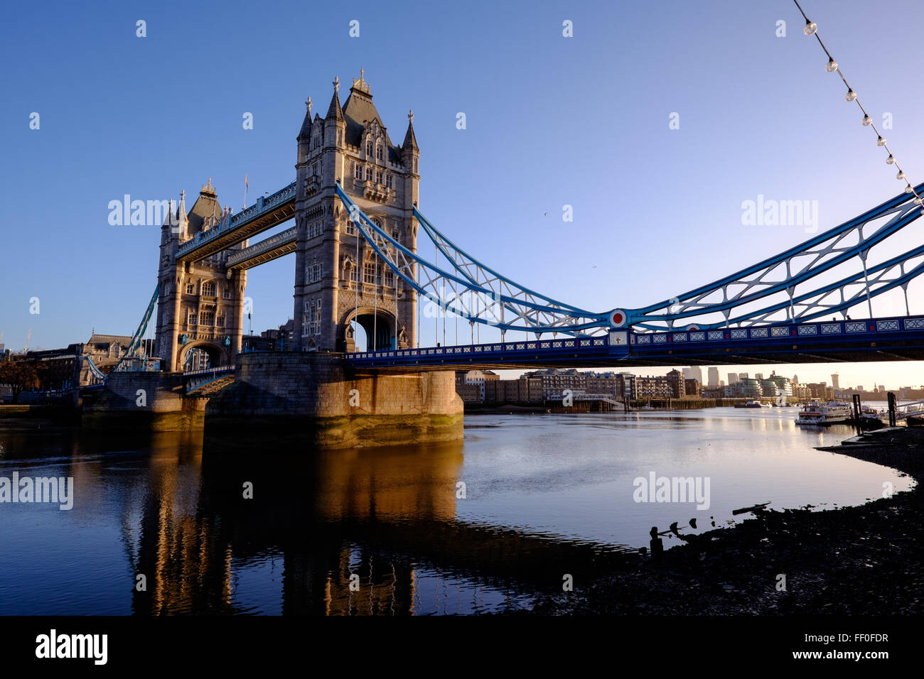 The Tower of London Bridge in all of it's glory during a beautiful sunrise. - Stock Image