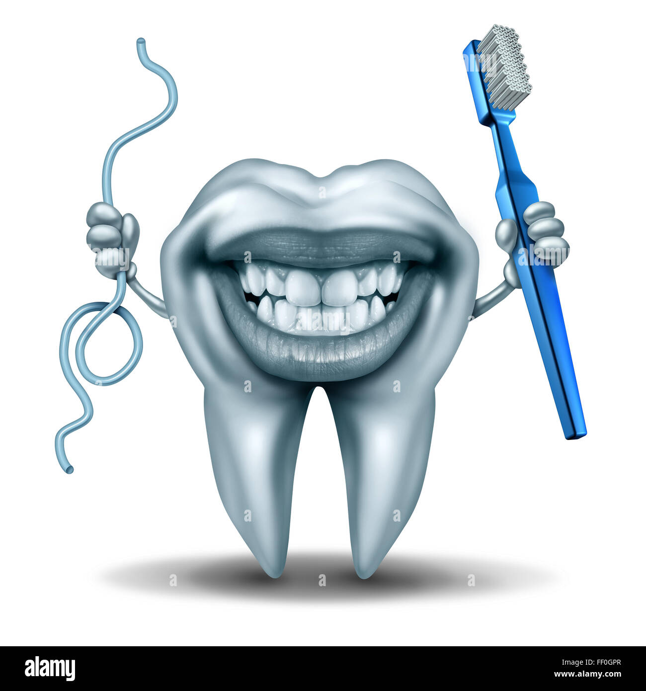 Teeth cleaning character holding a toothbrush and a string of floss with a wide laughing smile on the human molar - Stock Image