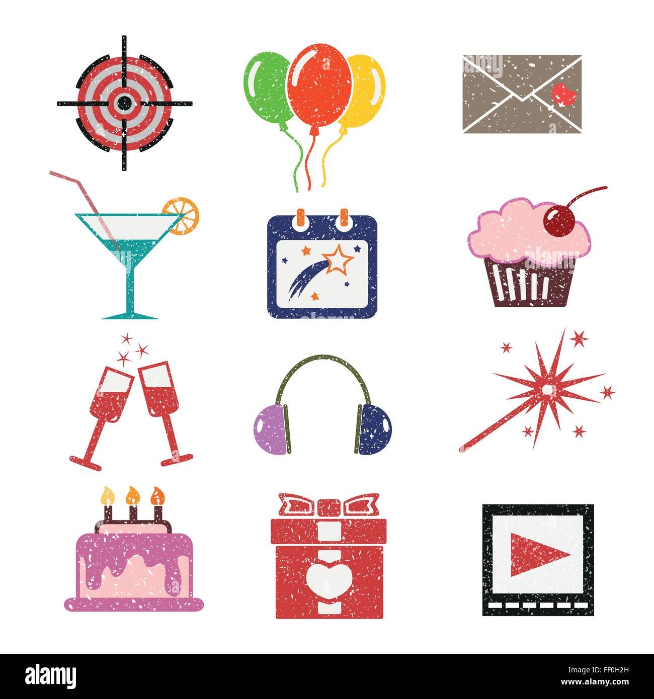 Set of bright color icons - Stock Vector