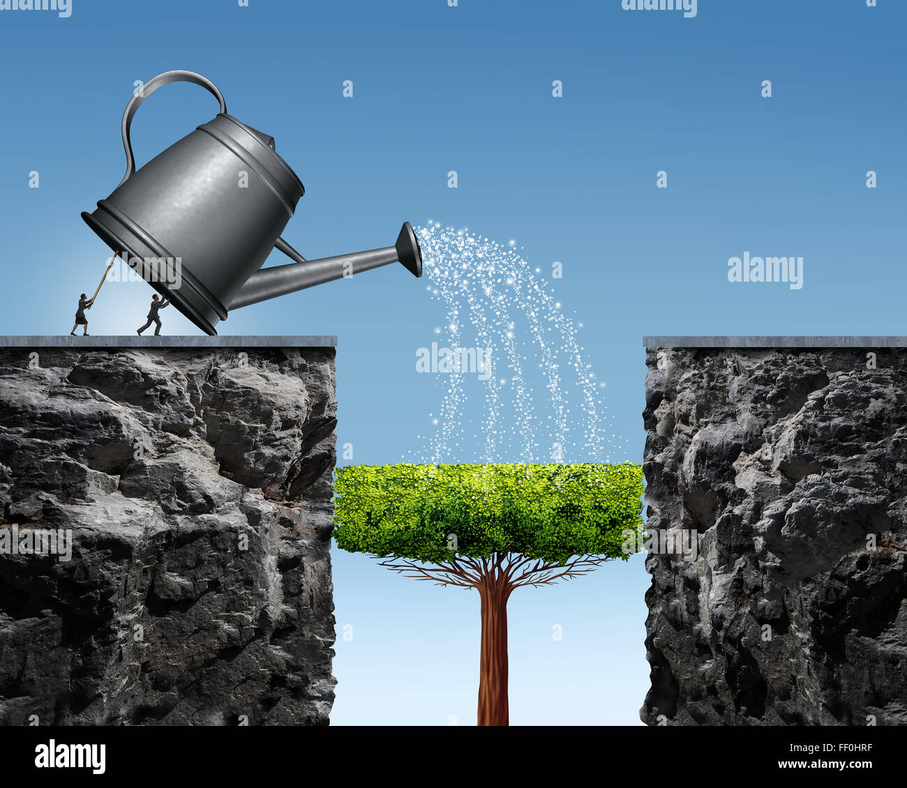 Planning for future success business concept with a businessman and businesswoman lifting a watering can to help - Stock Image