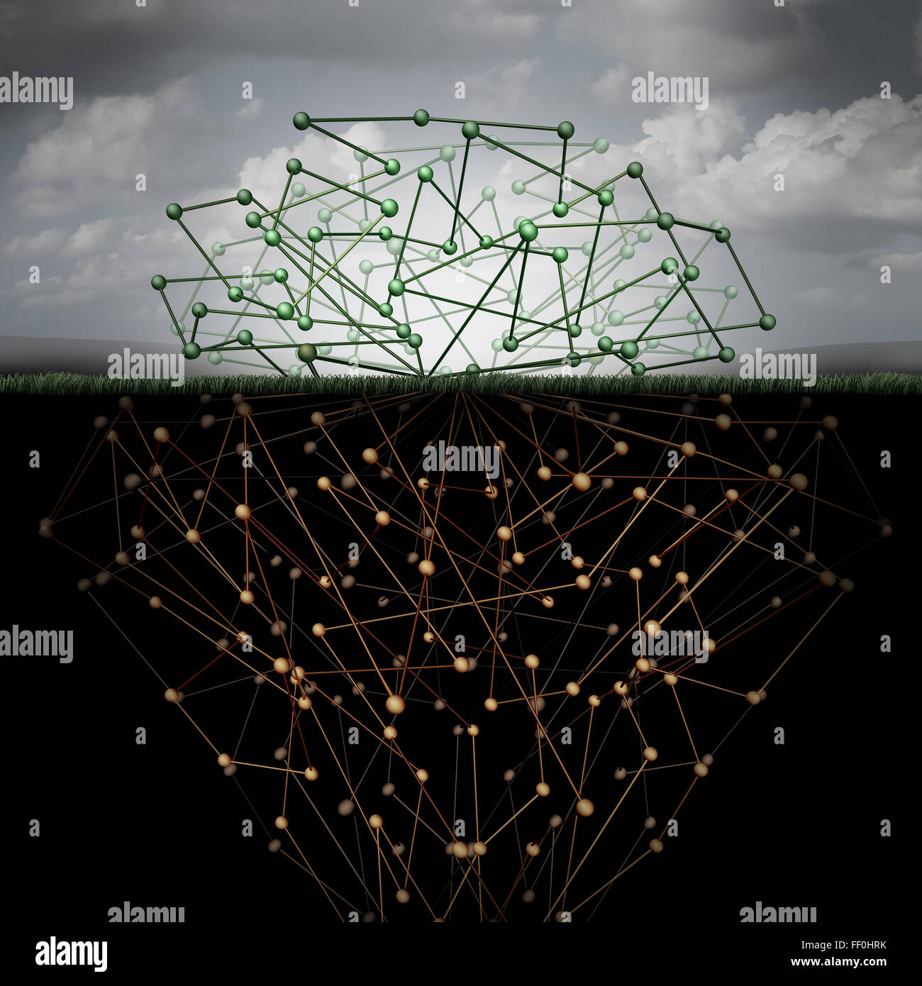 Dark web and hidden internet technology as a hidden website in cyberspace underground search engines as a buried - Stock Image