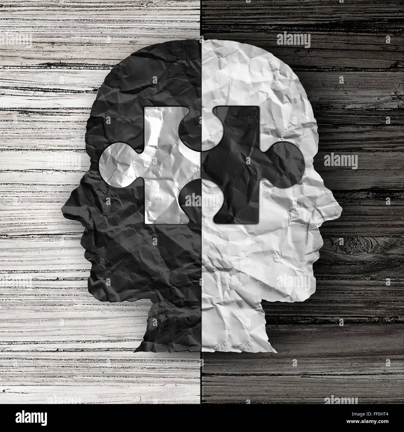 Racial ethnic social issue and equality concept or cultural justice symbol as a black and white crumpled paper shaped - Stock Image