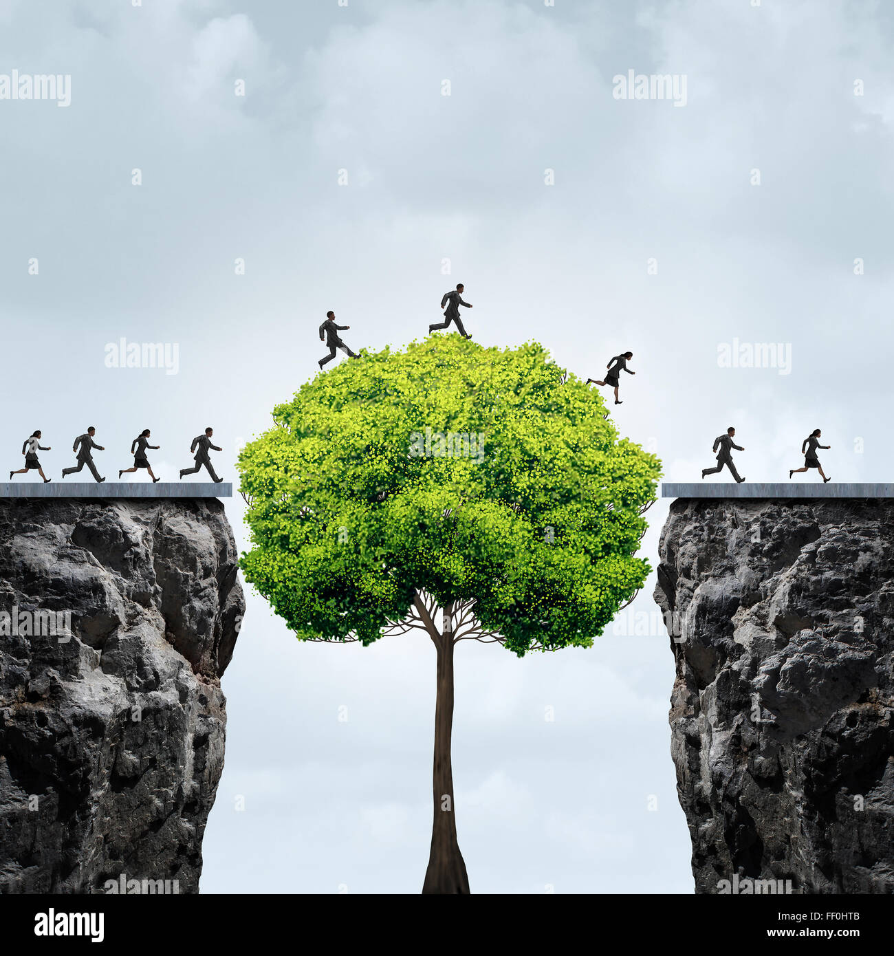 Business growth opportunity concept as a group of business people taking advantage of a tall tree grown in time - Stock Image