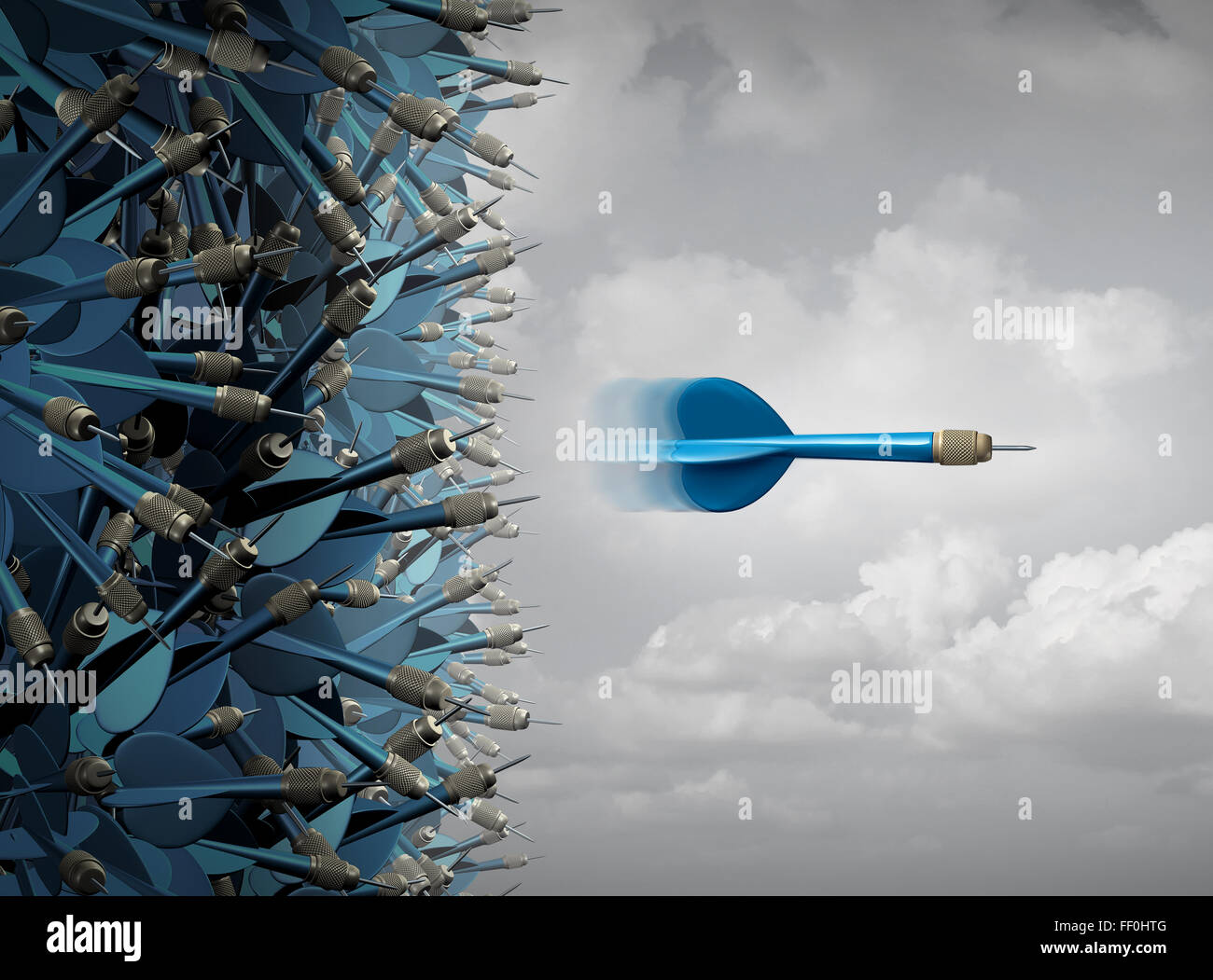 Business success focus as a symbol for successful communication and marketing as a group of mixed up darts and one - Stock Image