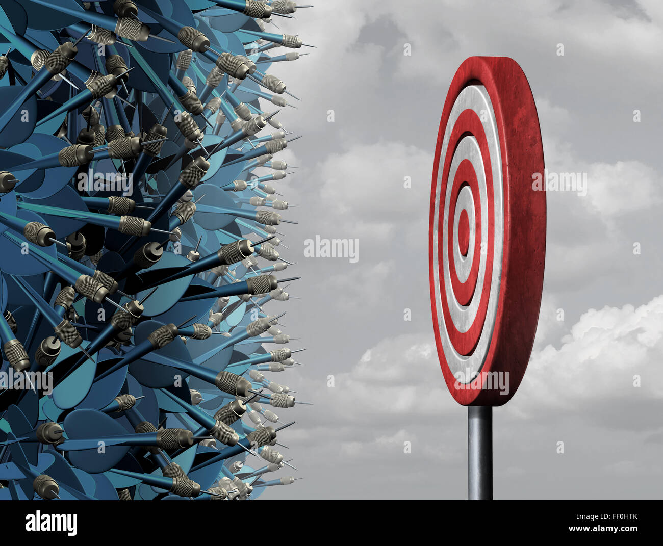 Crowded target business concept as a group of confused darts congested in a bottleneck  aiming for a common goal - Stock Image