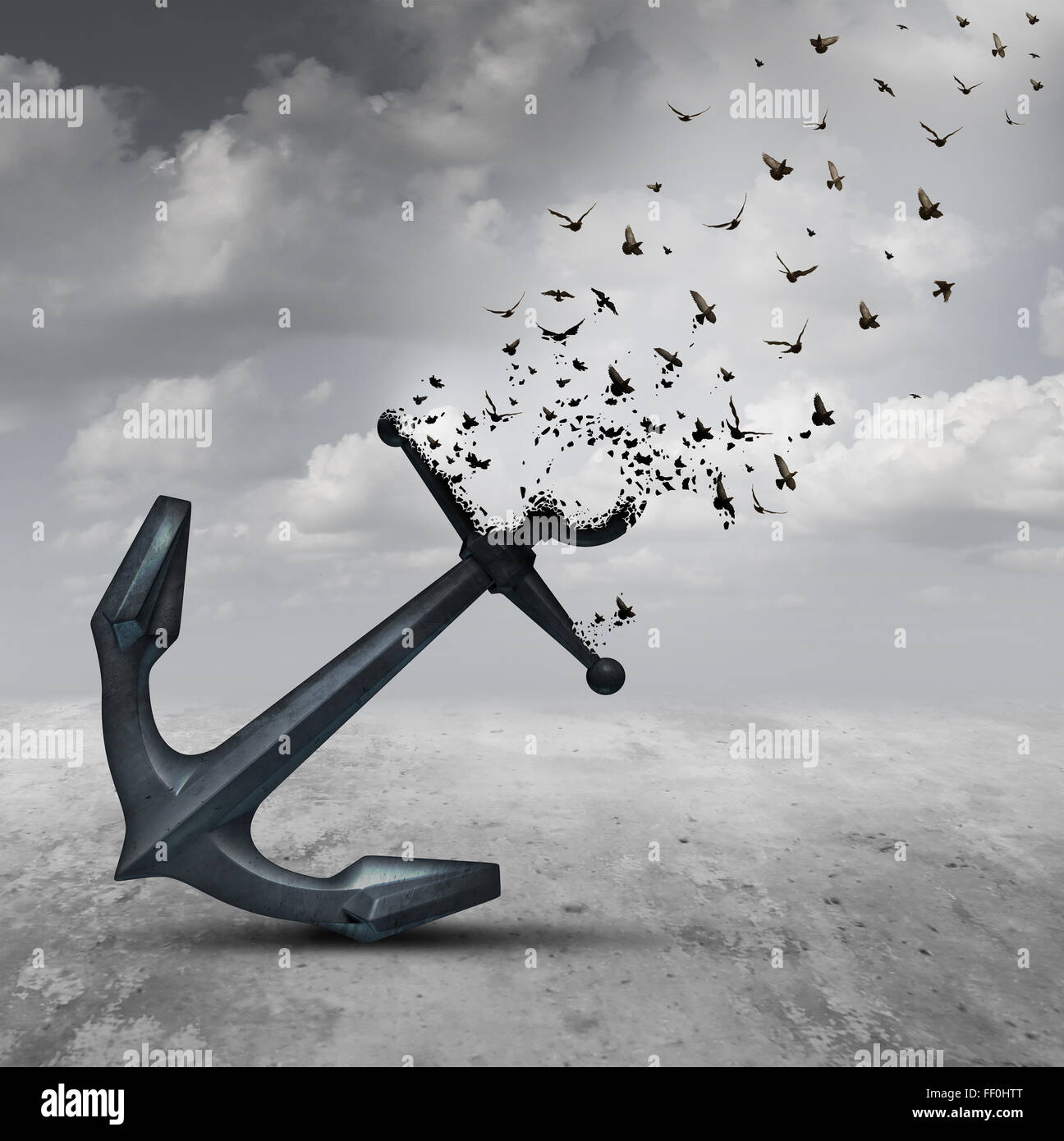 Letting go psychology concept as a heavy anchor transforming into a flying group of birds as a motivational metaphor - Stock Image