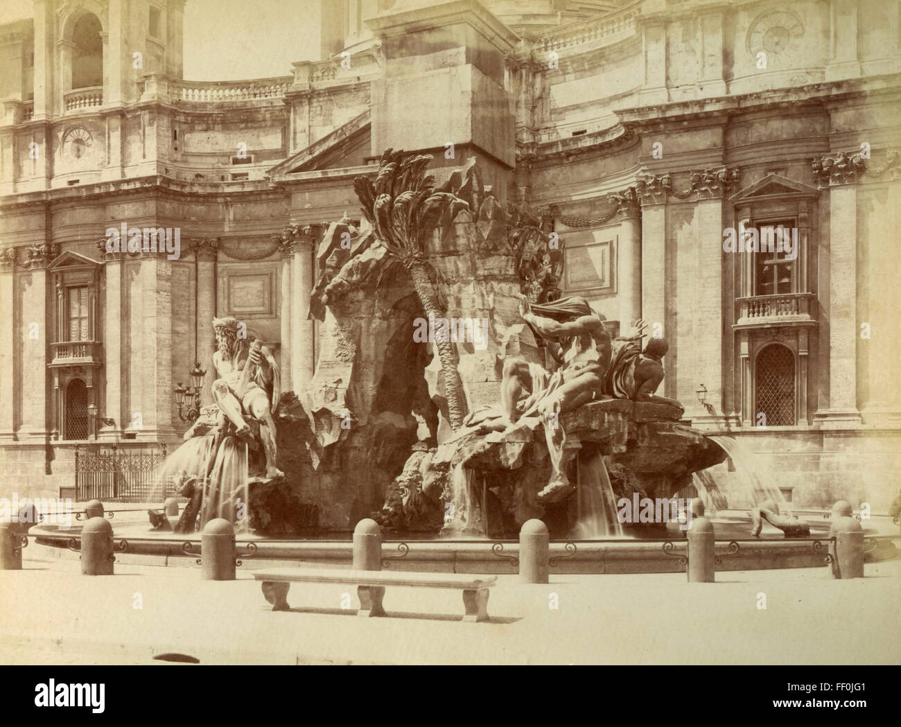 Fountain of the Four Rivers, Bernini, Piazza Navona, Rome, Italy - Stock Image