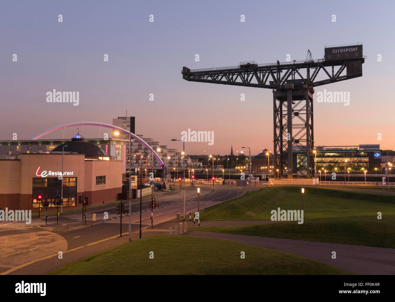 Clydeport titan crane, Finnieston,Glasgow at dusk, looking south. - Stock Image