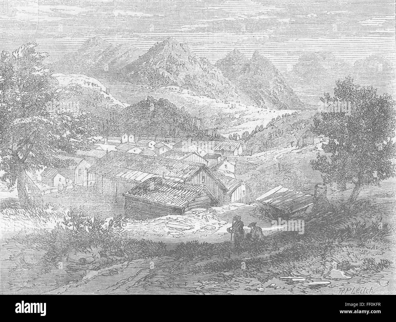 NEVADA Washoe Gold Hill, Mount Davidson & Ophir Rd 1862. Illustrated London News - Stock Image