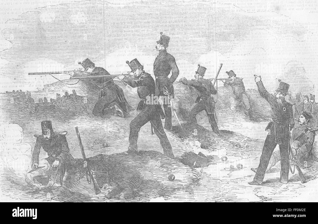 UKRAINE Siege of Sevastopol rifles, trenches 1854. Illustrated London News - Stock Image