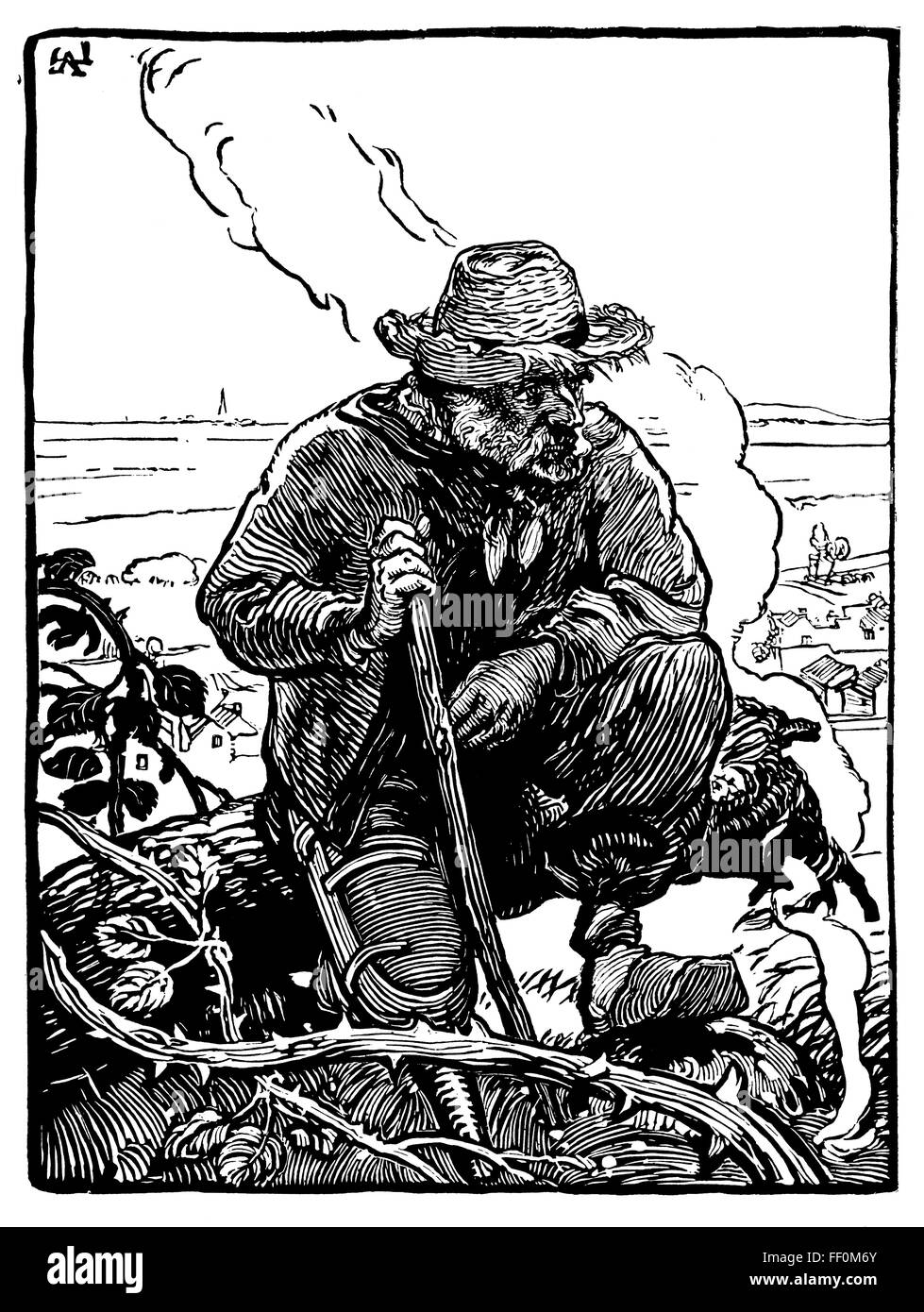 Le Gueux des Champs, beggar of the fields, woodcut by French Painter and Etcher, Auguste Louis Lepere (1849-1918) Stock Photo