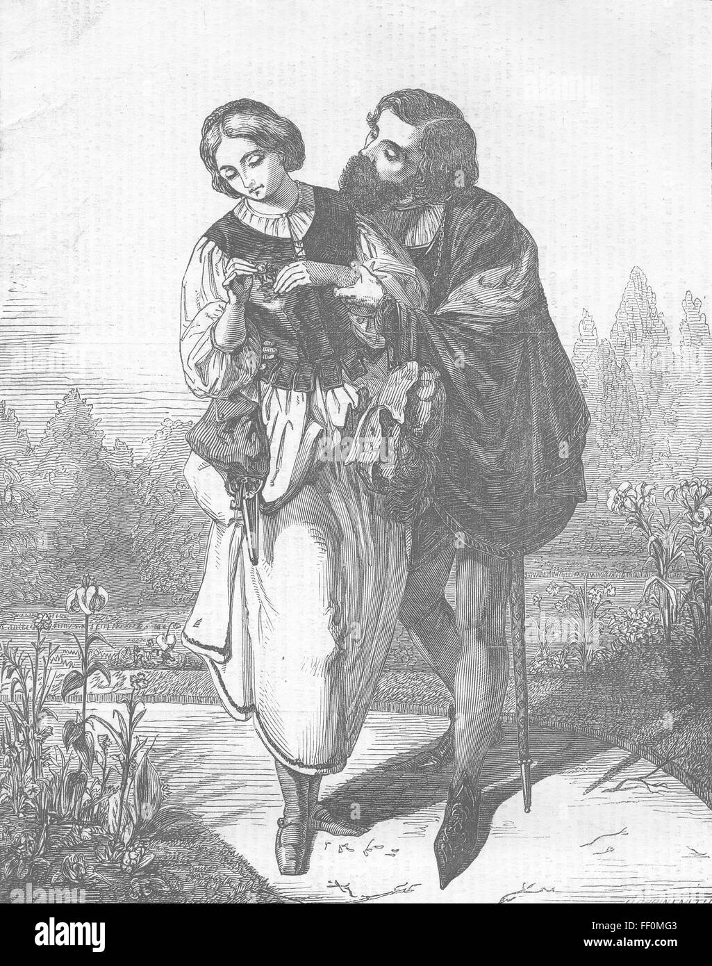 ROMANCE Scene from 'Faust' 1854. Illustrated London News - Stock Image