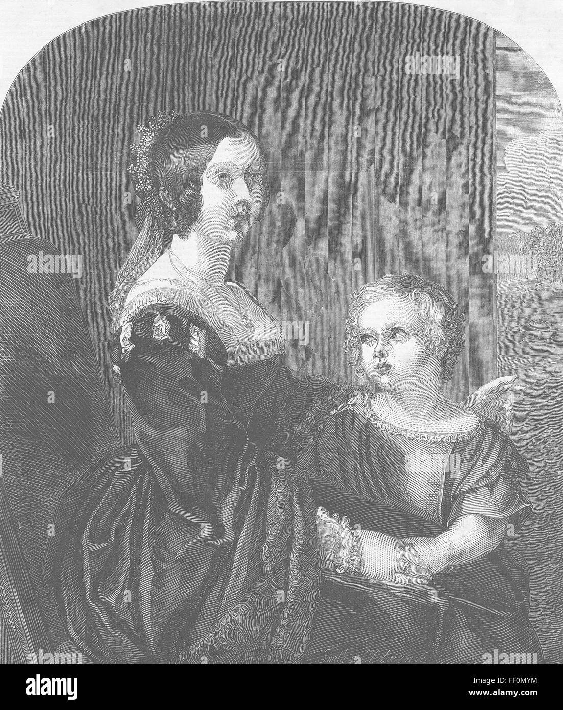 ROYALTY Queen Victoria & Albert, Prince of Wales 1849. Illustrated London News - Stock Image