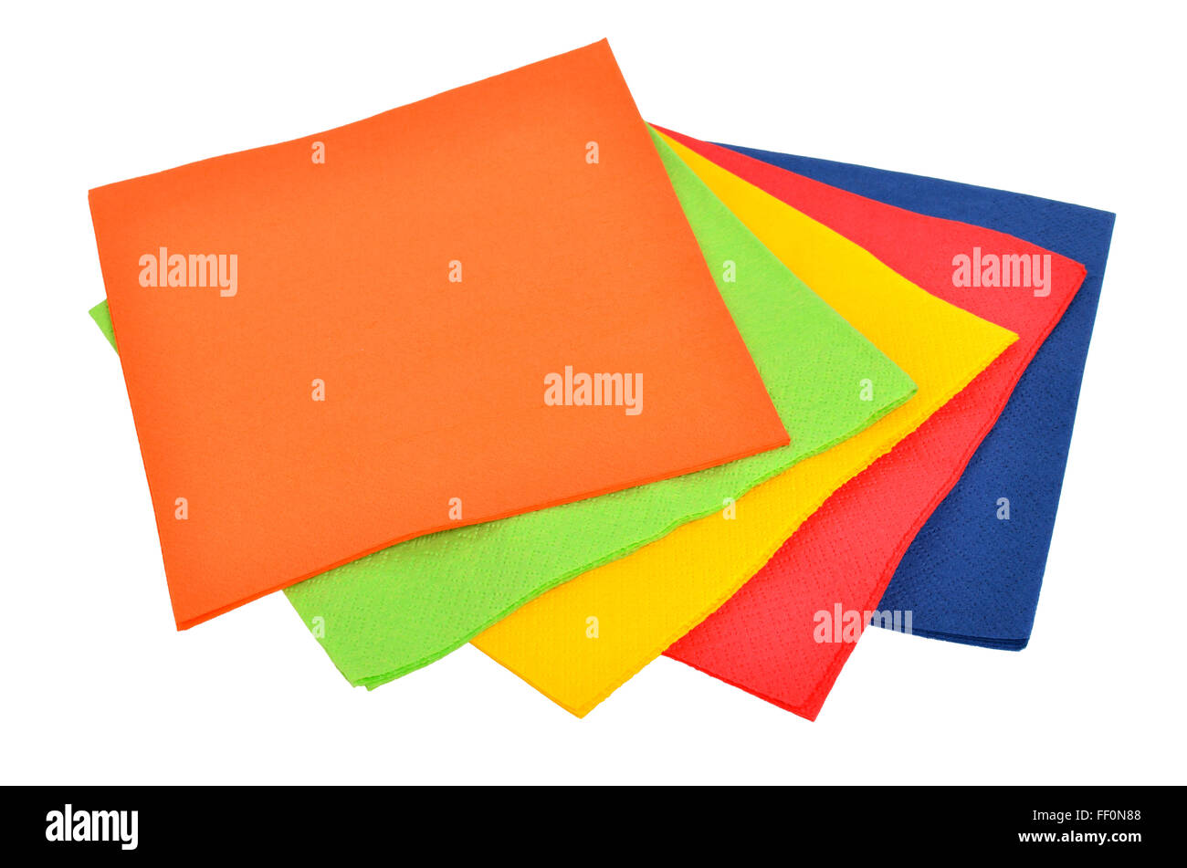 Multi-colored paper napkins for laying isolated on a white background. - Stock Image