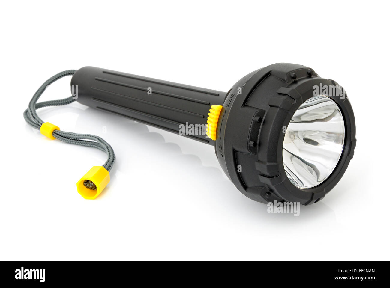 Electric torch for diving isolated on a white background - Stock Image