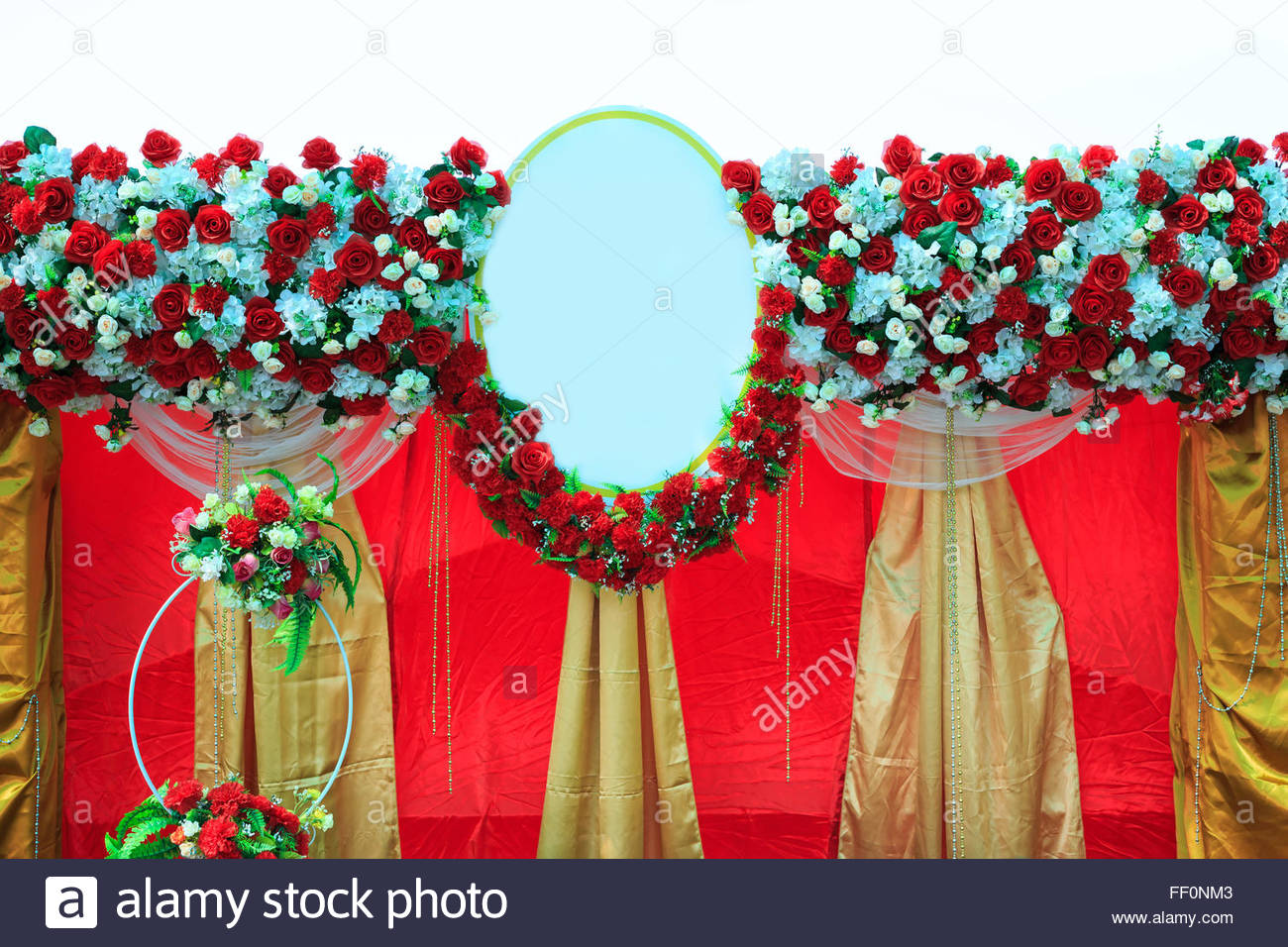 Colorful Backdrop Flowers With White And Gold Red Fabric Arrangement