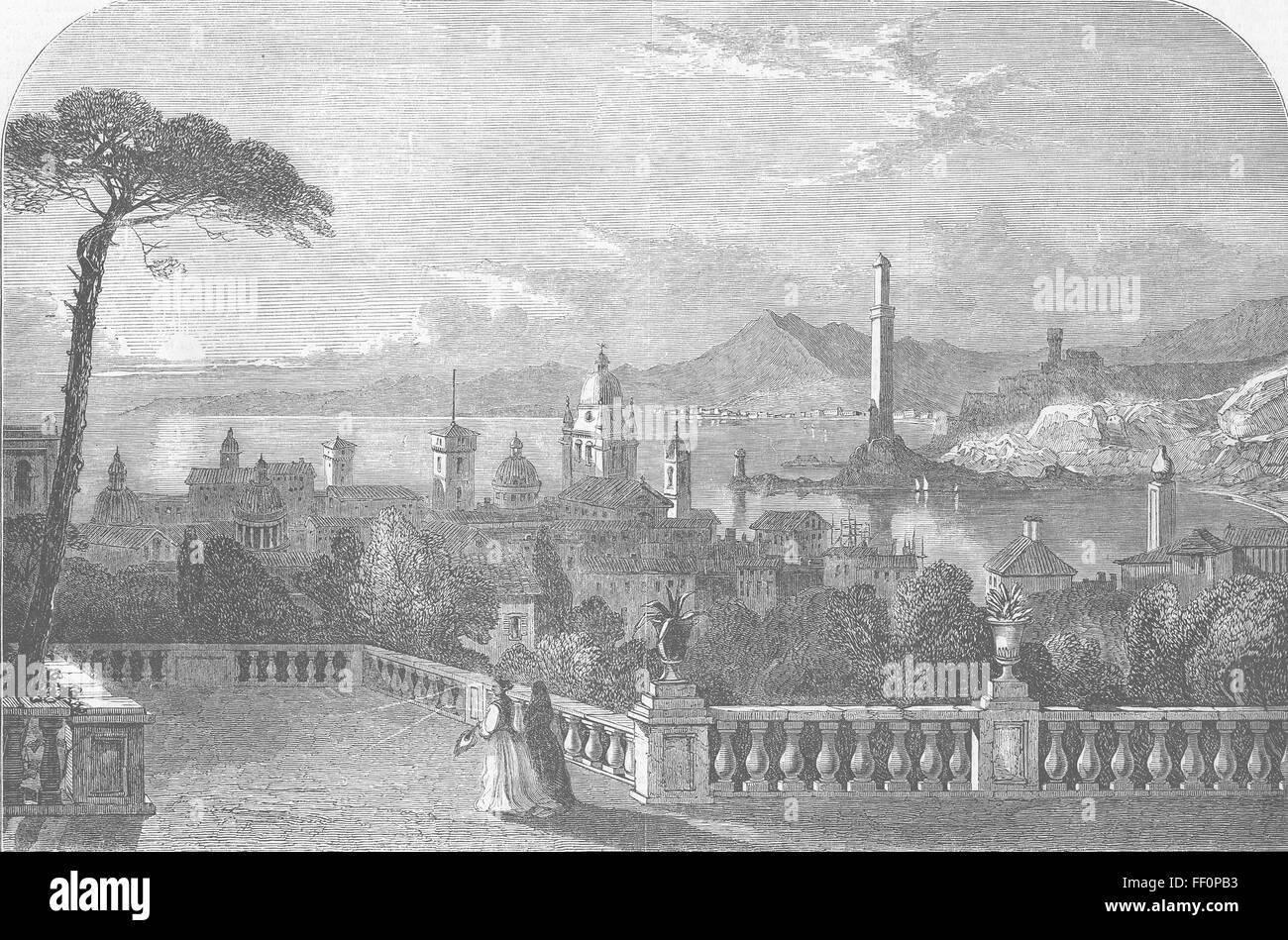 ITALY Genoa 1852. Illustrated London News - Stock Image