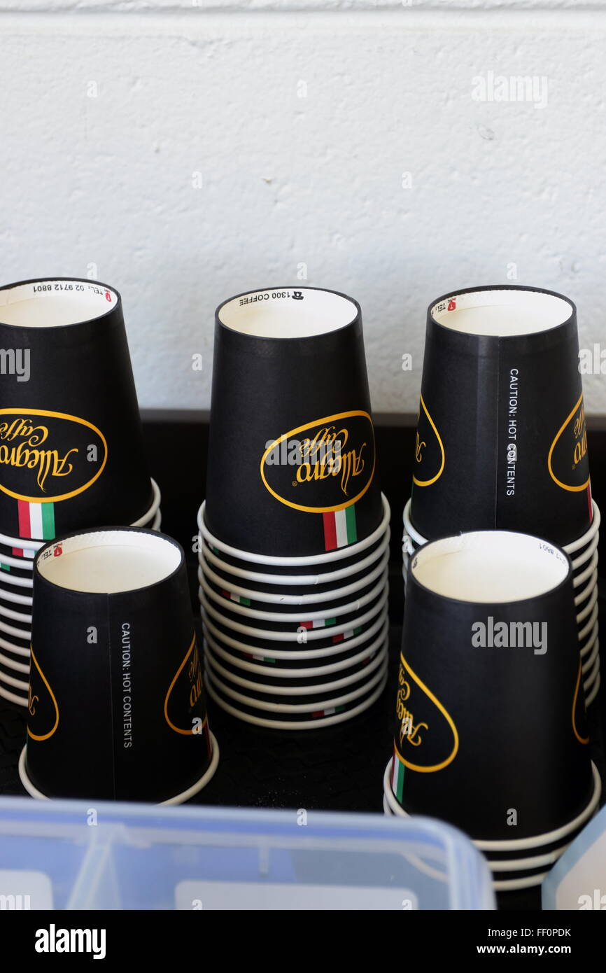 Disposable paper coffee cups - Stock Image