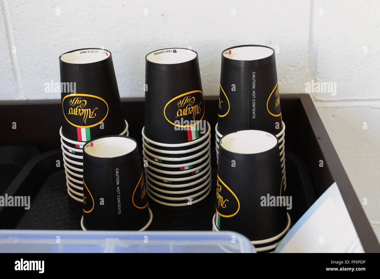 Disposable paper coffee cups Stock Photo