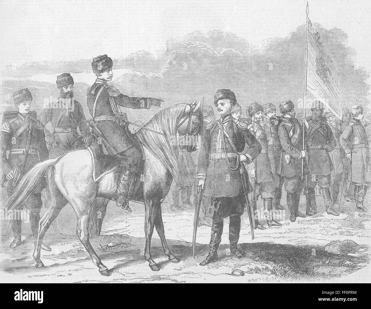 RUSSIA Imperial Chasseurs of Russian Army 1862. Illustrated London News - Stock Image