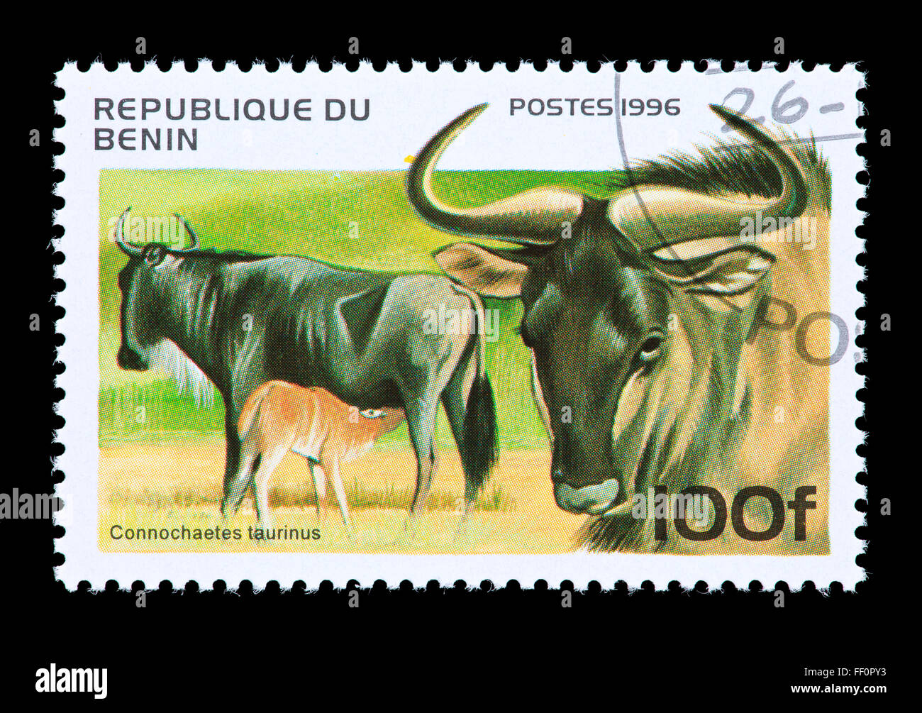Postage Stamp From Benin Depicting A Blue Wildebeest Connochaetes