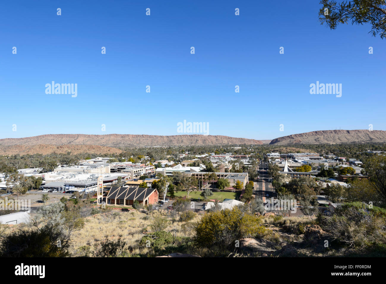 View of Alice Springs from Anzac Hill, Northern Territory, Australia - Stock Image