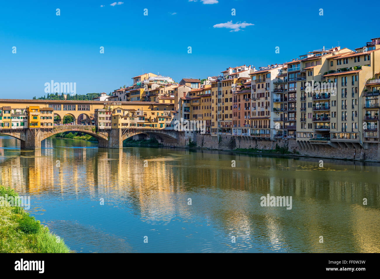 Ponte Vecchio and city skyline , Florence , Italy - Stock Image