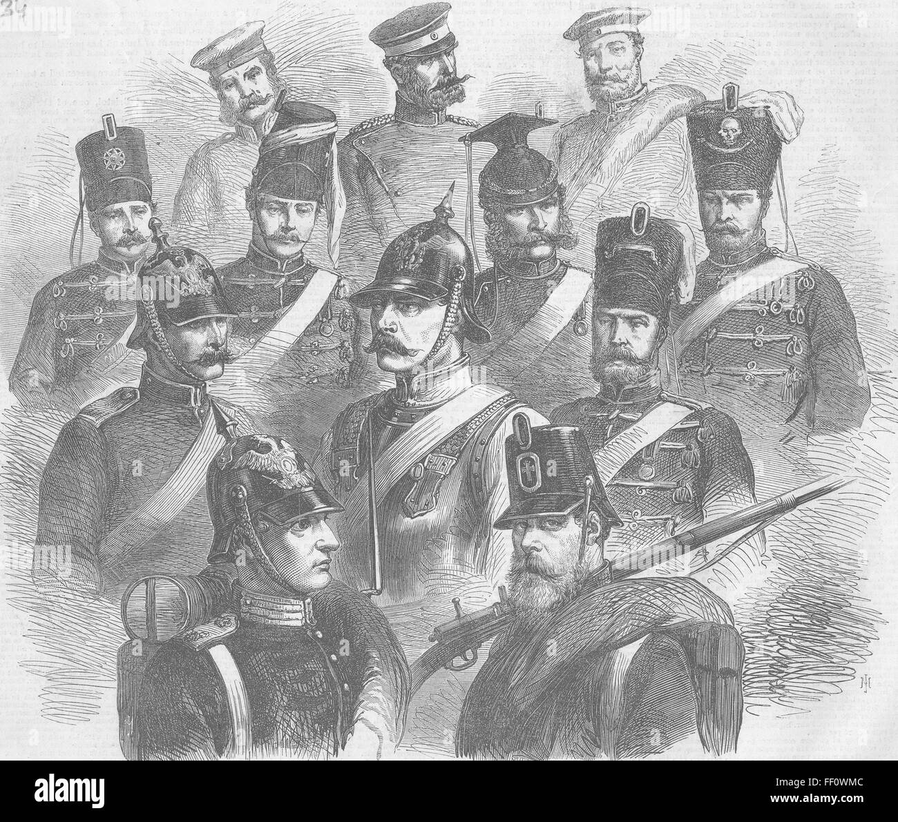 GERMANY Troops of Prussian Army 1866. Illustrated London News - Stock Image