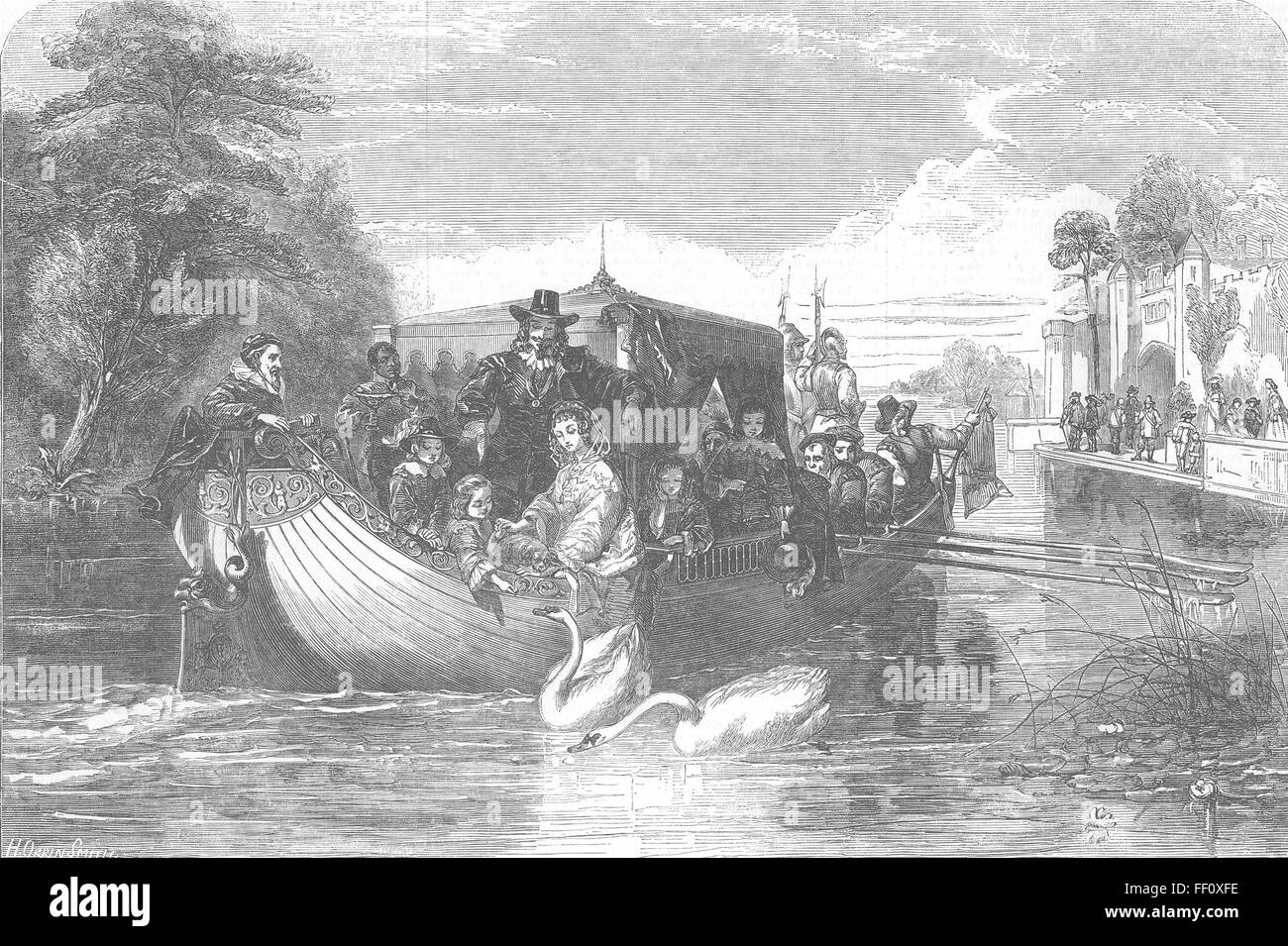 ROYALTY King Charles I on a boat 1853. Illustrated London News - Stock Image