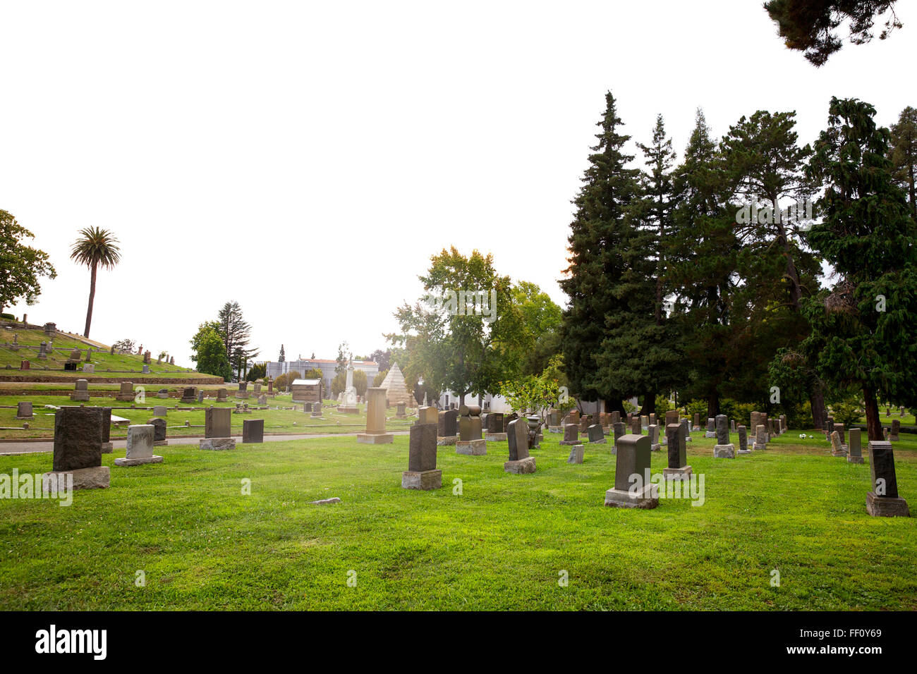 View of Mountain View Cemetery in the Piedmont Neighborhood of Oakland California. - Stock Image