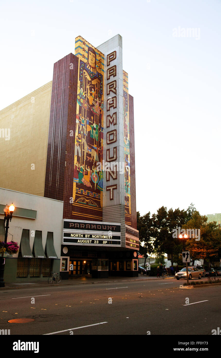 The Paramount Theater in Oakland California at dusk with the movie title North by Northwest on the marquis. - Stock Image
