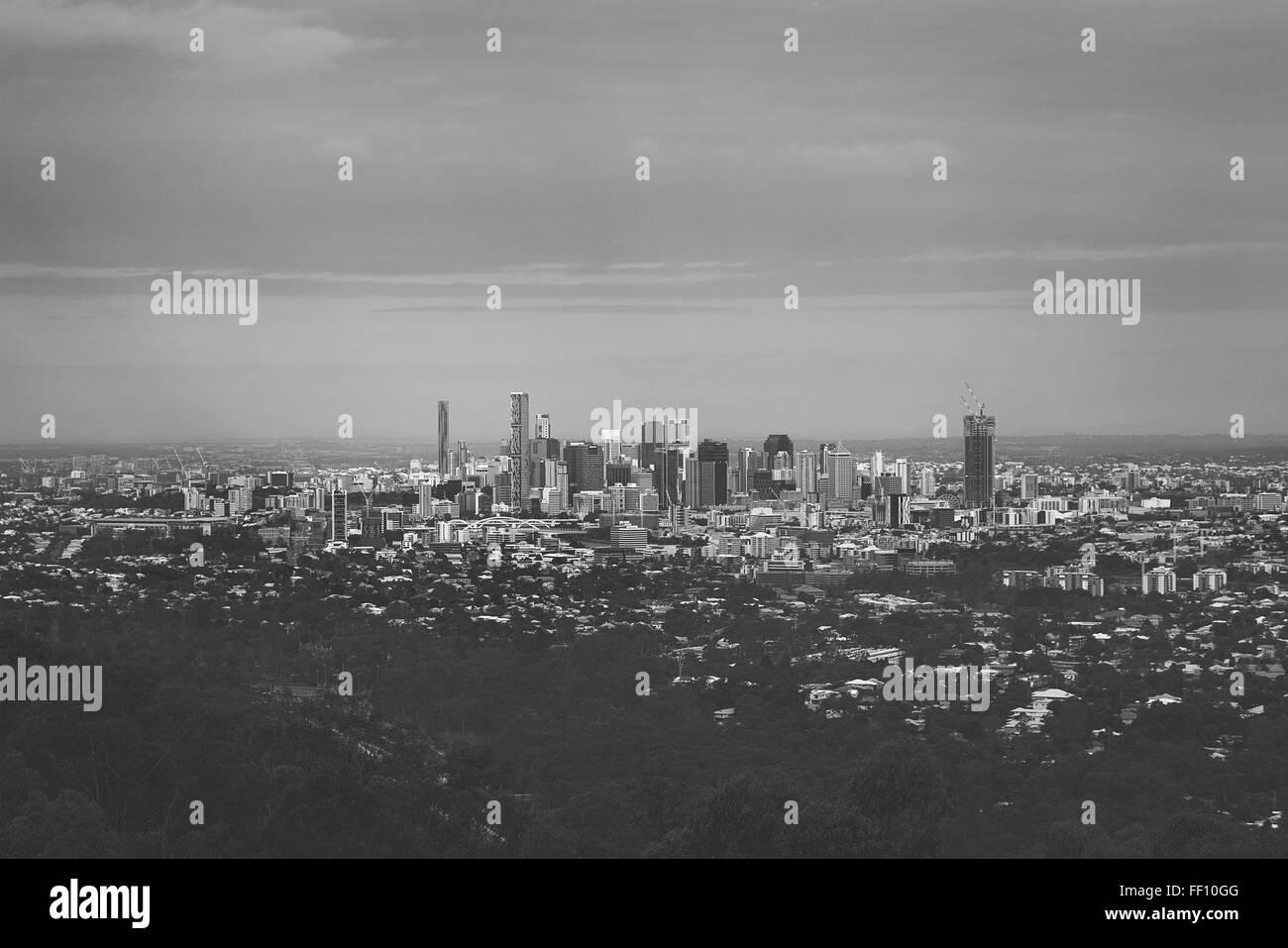 Brisbane Cityscape Monochrome - Stock Image