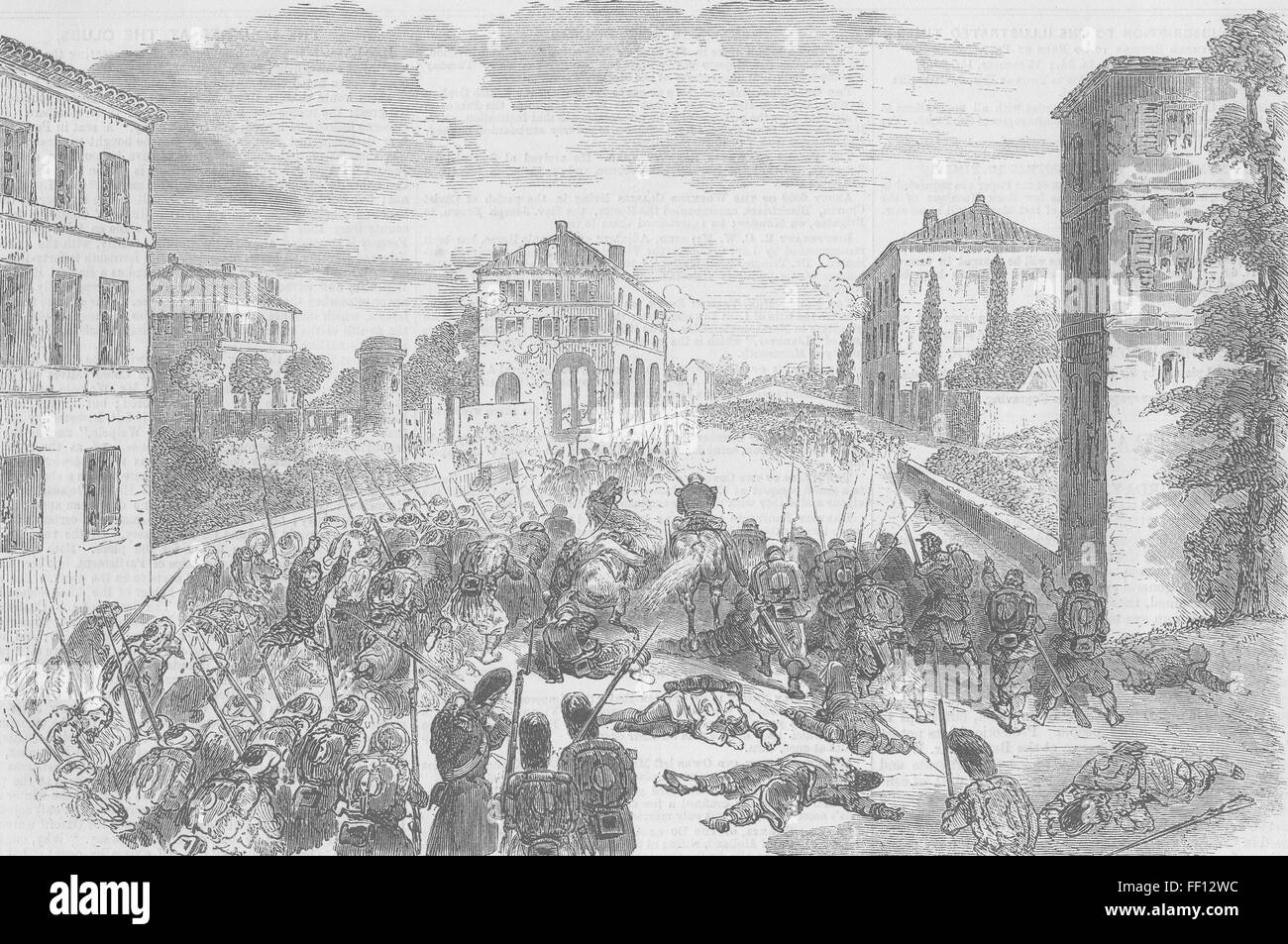 ITALY French troops attack Ponte-Nuovo di Magenta 1859. Illustrated Times - Stock Image