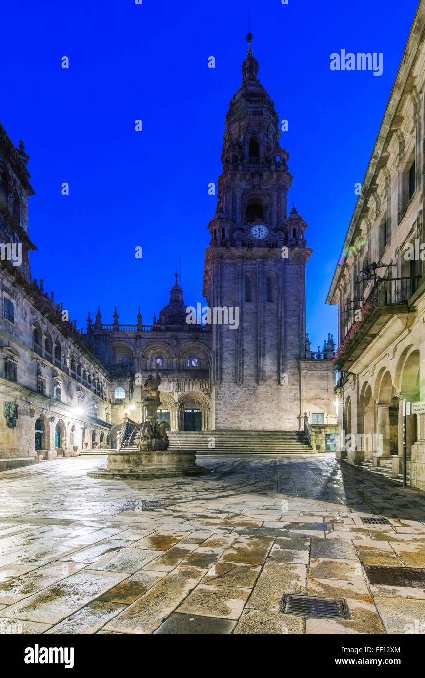 Ornate church and tower with fountain, Santiago de Compostela, A Coruna, Spain Stock Photo
