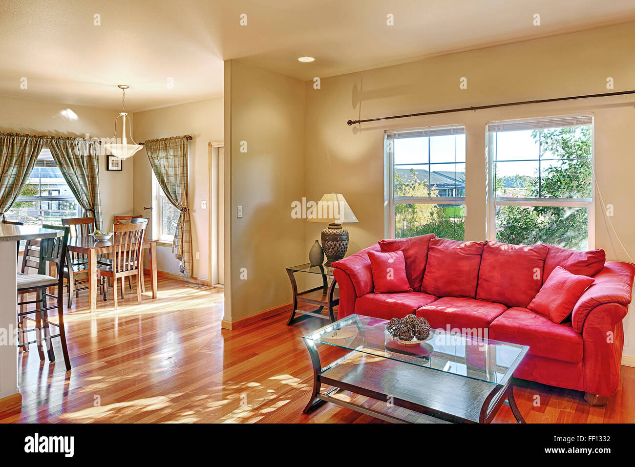 Sofa and coffee table in living room - Stock Image