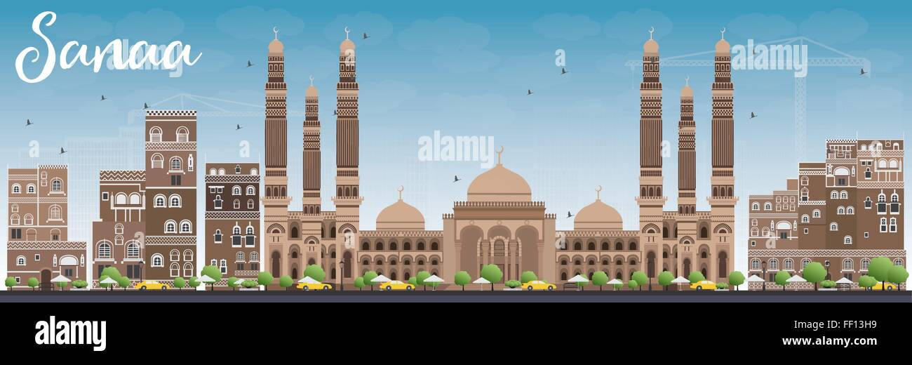 Sanaa (Yemen) Skyline with Brown Buildings and Blue Sky. Vector Illustration. Business Travel and Tourism Concept - Stock Vector