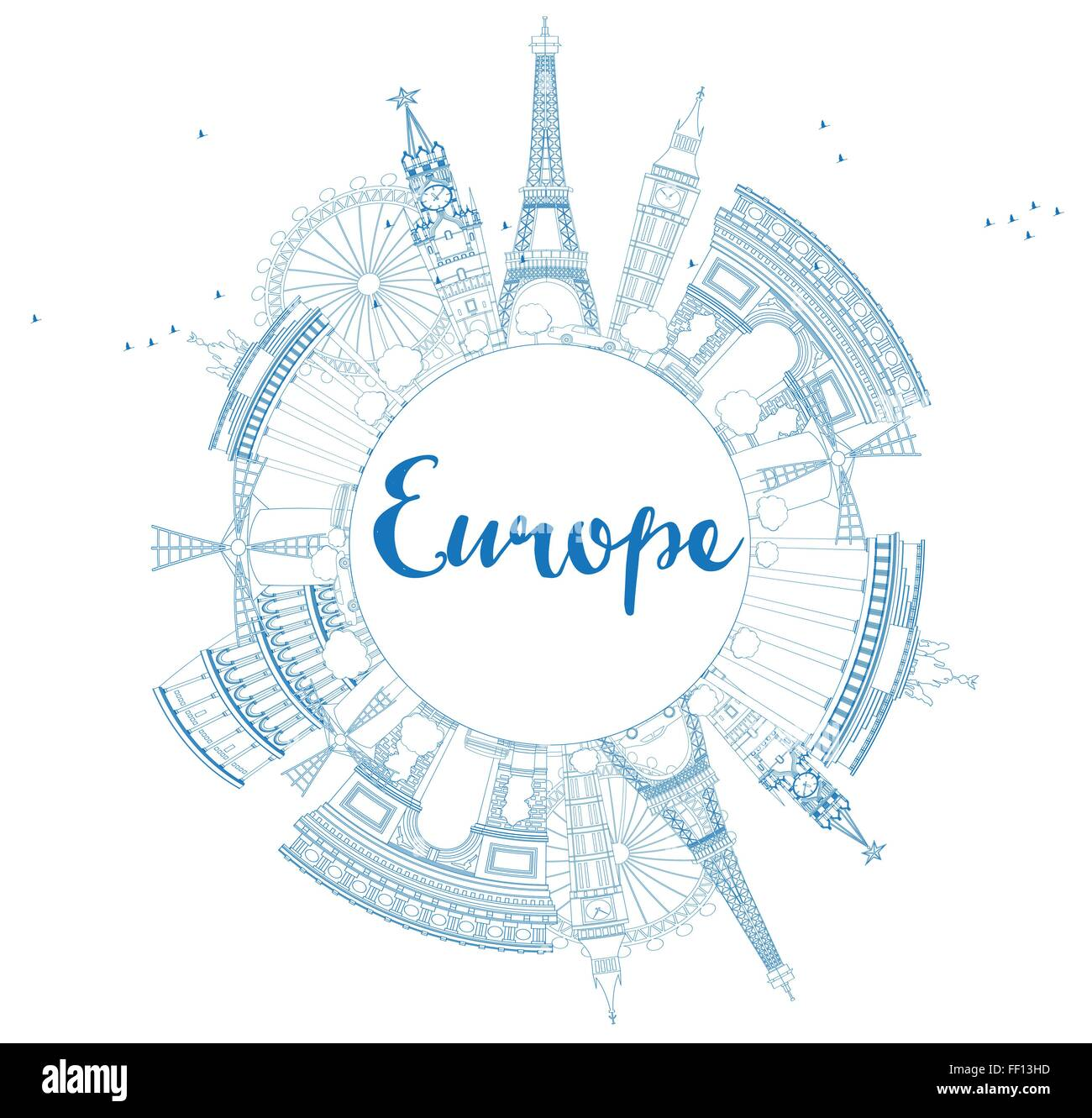 Famous landmarks in Europe. Outline Vector illustration. Business travel and tourism concept with place for text. - Stock Vector