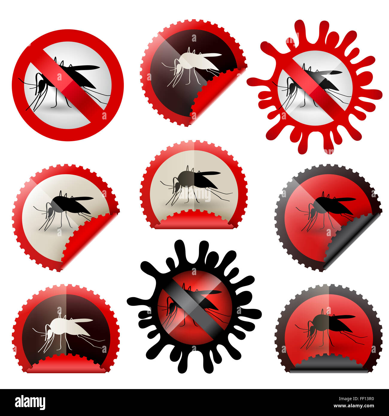 infected mosquitoe icon awareness isolated set in stamp shape, with colors and shapes to choose - Stock Image
