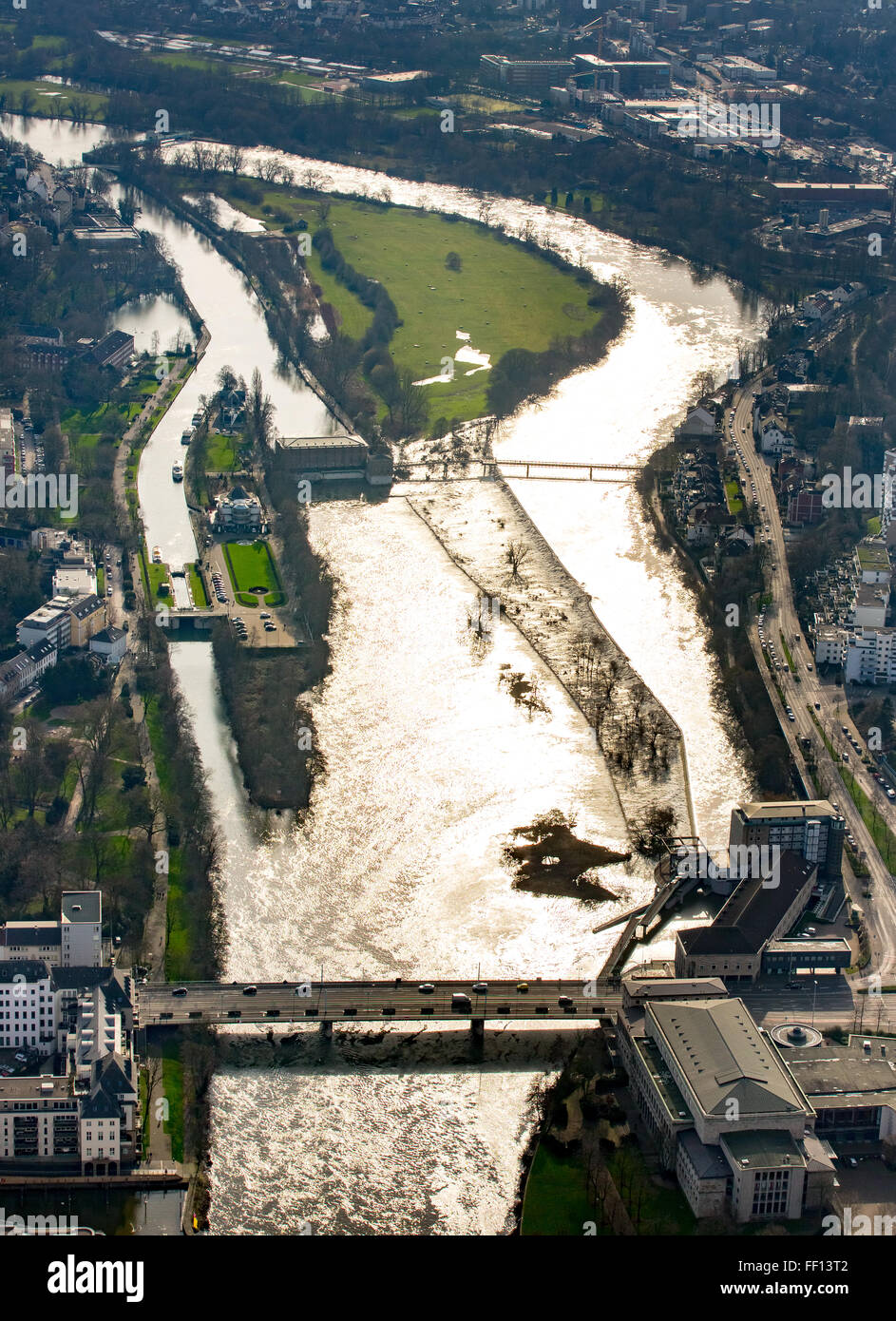 Aerial view, Ruhr, Ruhr flood, Ruhr lowlands, Ruhr Valley, Mülheim an der Ruhr, Ruhr area, North Rhine-Westphalia, - Stock Image